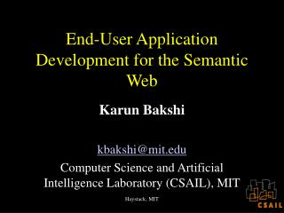 End-User Application Development for the Semantic Web