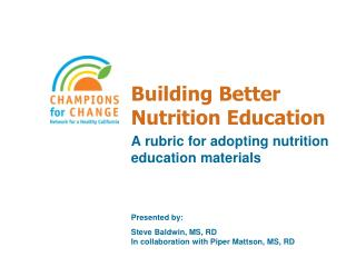 Building Better Nutrition Education
