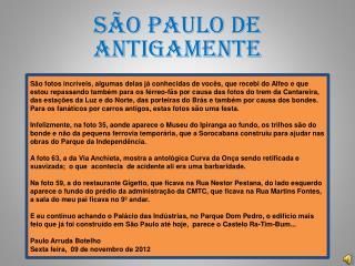 SÃO PAULO DE ANTIGAMENTE