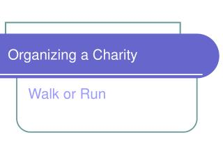 Organizing a Charity