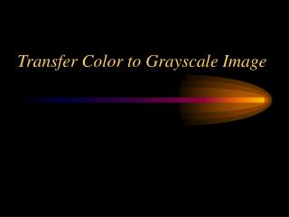 Transfer Color to Grayscale Image