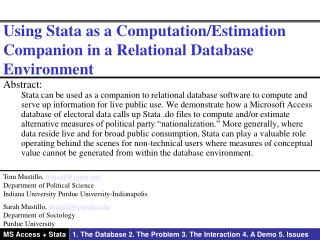 Using Stata as a Computation/Estimation Companion in a Relational Database Environment