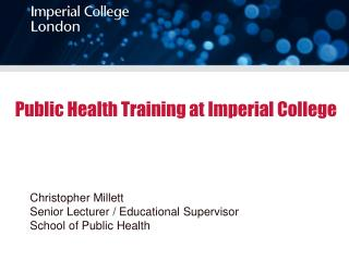 Public Health Training at Imperial College