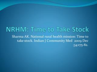 NRHM: Time to Take Stock