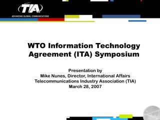 WTO Information Technology Agreement (ITA) Symposium