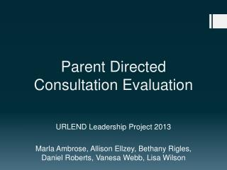 Parent Directed Consultation Evaluation
