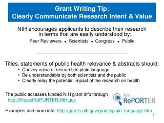 Grant Writing Tip: Clearly Communicate Research Intent & Value