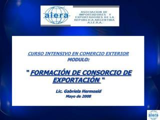 "CURSO INTENSIVO EN COMERCIO EXTERIOR MODULO: ""  FORMACIÓN DE CONSORCIO DE EXPORTACIÓN  """