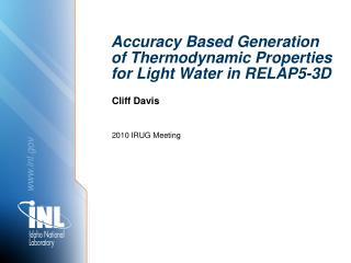 Accuracy Based Generation of Thermodynamic Properties for Light Water in RELAP5-3D