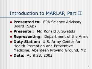 Introduction to MARLAP, Part II