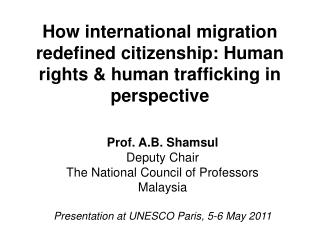 How international migration redefined citizenship: Human rights & human trafficking in perspective