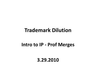 Trademark Dilution