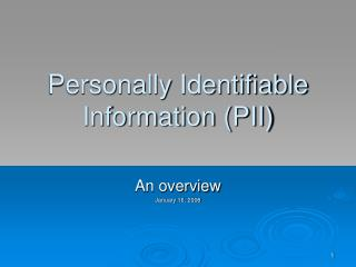 Personally Identifiable Information PII