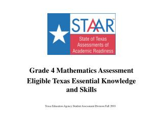 Grade 4 Mathematics Assessment Eligible Texas Essential Knowledge and Skills