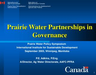 Prairie Water Partnerships in Governance