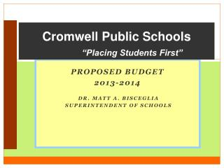 "Cromwell Public Schools ""Placing Students First"""