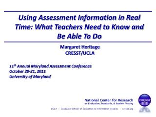Using Assessment Information in Real Time: What Teachers Need to Know and Be Able To Do
