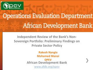 African Development Bank afdb/opev