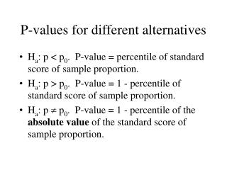 P-values for different alternatives