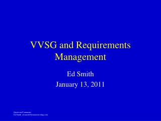VVSG and Requirements Management
