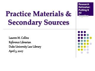 Practice Materials  Secondary Sources