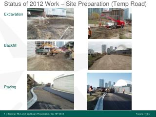 Status of 2012 Work – Site Preparation (Temp Road)