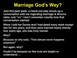 Marriage God's Way?