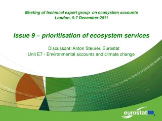 Meeting of technical expert group  on ecosystem accounts  London, 5-7 December 2011