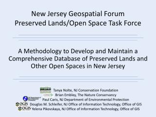 New Jersey Geospatial Forum Preserved Lands