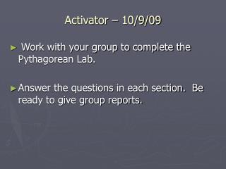 Activator – 10/9/09