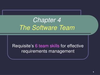 Chapter 4 The Software Team