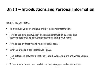 Unit 1 � Introductions and Personal Information