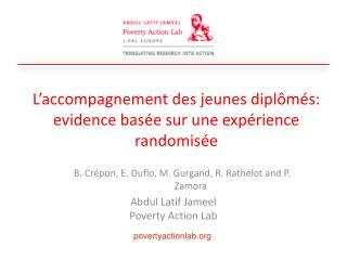 L'accompagnement  des  jeunes dipl ômés : evidence  basée sur une expérience randomisée