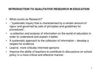 INTRODUCTION TO QUALITATIVE RESEARCH IN EDUCATION