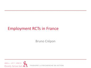 Employment RCTs  in France