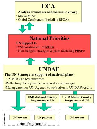 CCA Analysis around key national issues among :  MD & MDGs  Global Conferences (including BPOA)