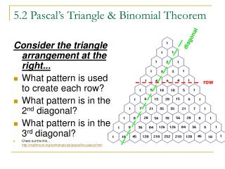 5.2 Pascal�s Triangle & Binomial Theorem