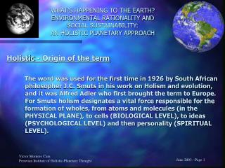 Holistic -  Origin of the term