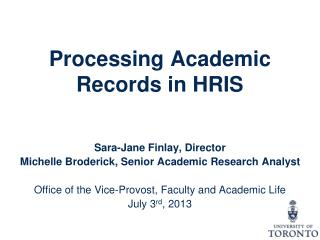 Processing Academic Records in HRIS