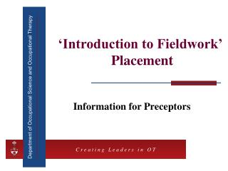 'Introduction to Fieldwork'  Placement