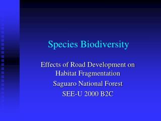 Species Biodiversity