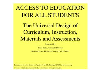 ACCESS TO EDUCATION FOR ALL STUDENTS