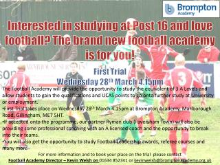 Interested in studying at Post 16 and love football? The brand new football academy is for you!