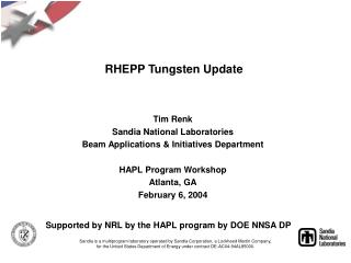 RHEPP Tungsten Update