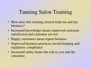 Tanning Salon Training