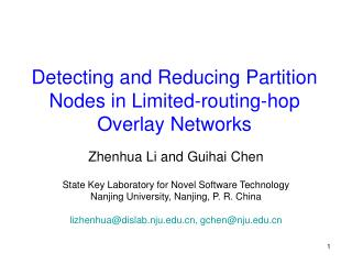 Detecting and Reducing Partition Nodes in Limited-routing-hop Overlay Networks
