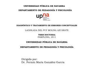 UNIVERSIDAD PÚBLICA DE NAVARRA DEPARTAMENTO DE PEDAGOGÍA Y PSICOLOGÍA
