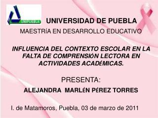 UNIVERSIDAD DE PUEBLA MAESTR Í A EN DESARROLLO EDUCATIVO