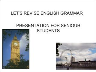 LET'S REVISE ENGLISH GRAMMAR