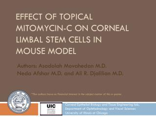effect of topical  mitomycin -c on  corneAl limbal  stem cells in  mouse model